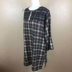Anthropologie Uncle Frank Embroidered Plaid Dress
